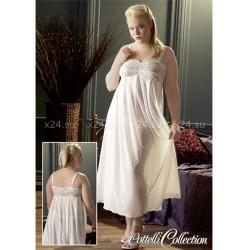 Белая длинная сорочка с кружевным верхом XL