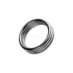 Ребристое металлическое кольцо на пенис M