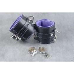Подвёрнутые кожаные наножники с фиолетовым подкладом