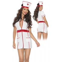 Мини-халат медсестры на молнии SM