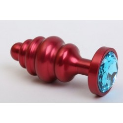 Красная ребристая анальная пробка с голубым стразом - 7,3 см.