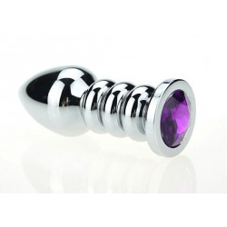 Серебристая фигурная анальная пробка с фиолетовым кристаллом - 10,3 см.