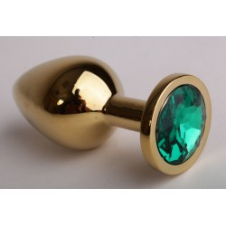 Золотистая анальная пробка с зеленым кристаллом - 8,2 см.