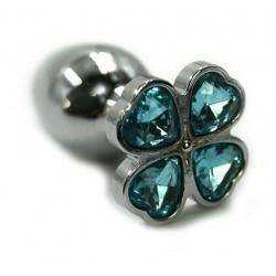Серебристая анальная пробка с нежно-голубым цветком из кристаллов - 6 см.