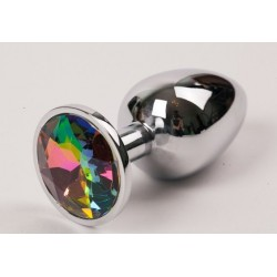 Серебряная металлическая анальная пробка с радужным стразиком - 9,5 см.