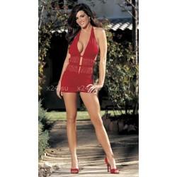 Красное платье с металлическими стразами и трусиками