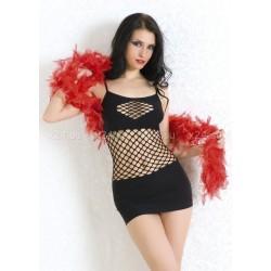 Бесшовное платье со вставками из крупной сетки