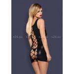 Черное блестящее мини-платье на шнуровке сзади Obsydian Wetlook SM