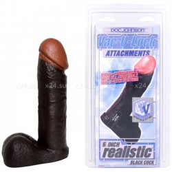 Насадка к страпон-трусикам REALISTIC BLACK COCK 6''