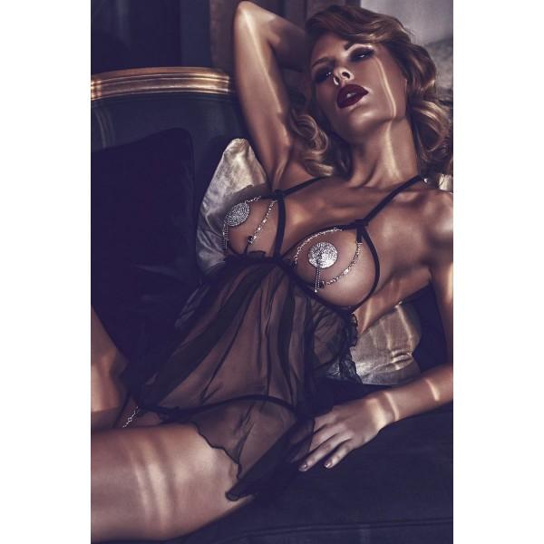 Откровенная сорочка с декоративными цепочками Lilith